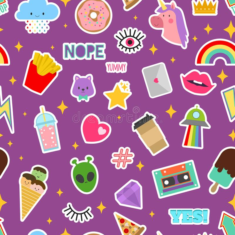 Patch stickers vector sticky patching badge or embroidery for patchwork illustration set of patchy cartoon heart rainbow. Or unicorn seamless pattern background stock illustration
