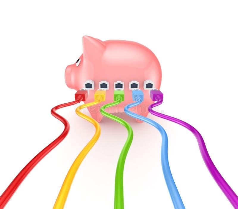 Patchcords coloridos conectados ao banco piggy. ilustração do vetor