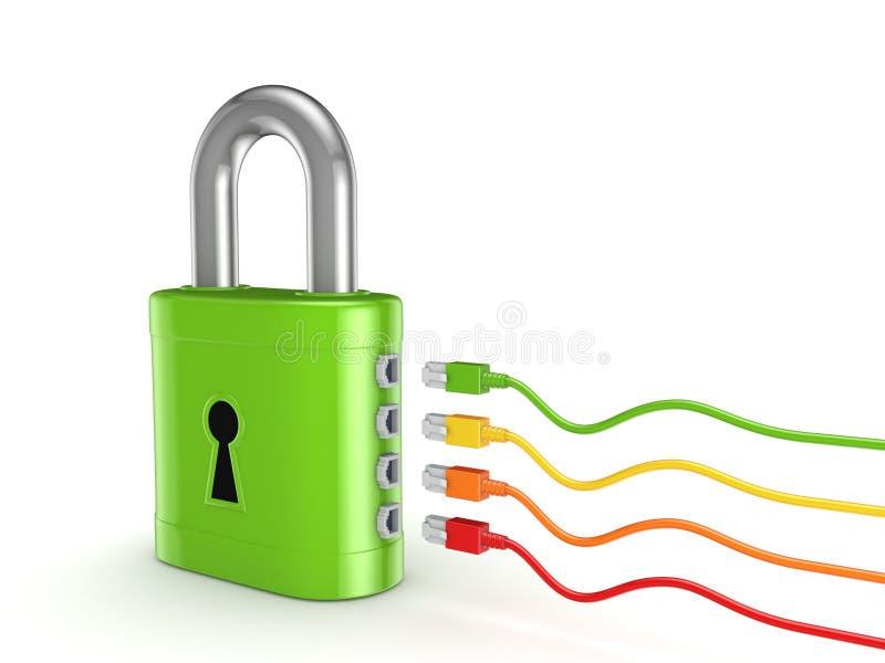 Patchcords coloridos conectados ao fechamento verde. ilustração do vetor