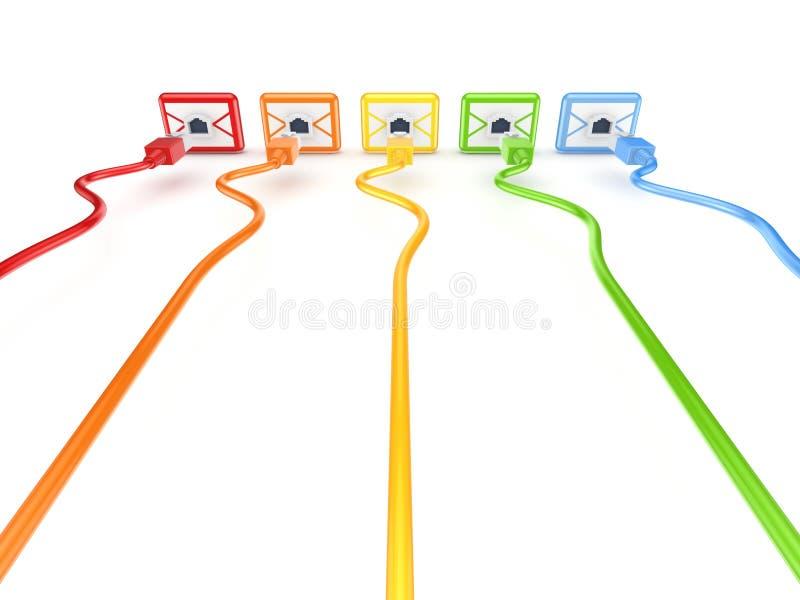 Patchcords coloridos conectados aos envelopes. ilustração royalty free