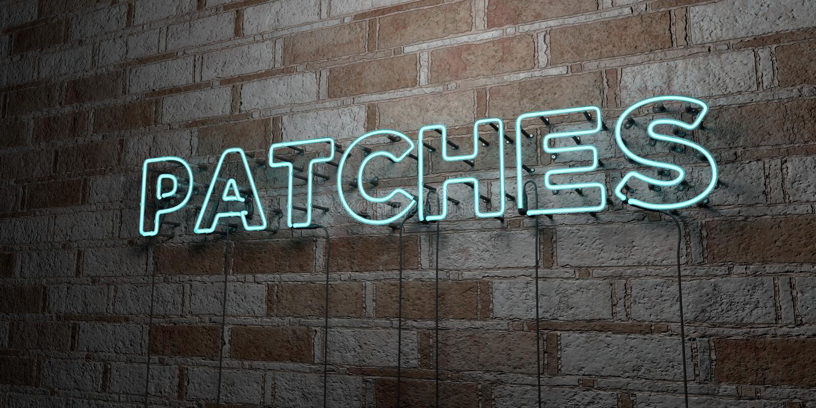 PATCHES - Glowing Neon Sign on stonework wall - 3D rendered royalty free stock illustration. Can be used for online banner ads and direct mailers vector illustration