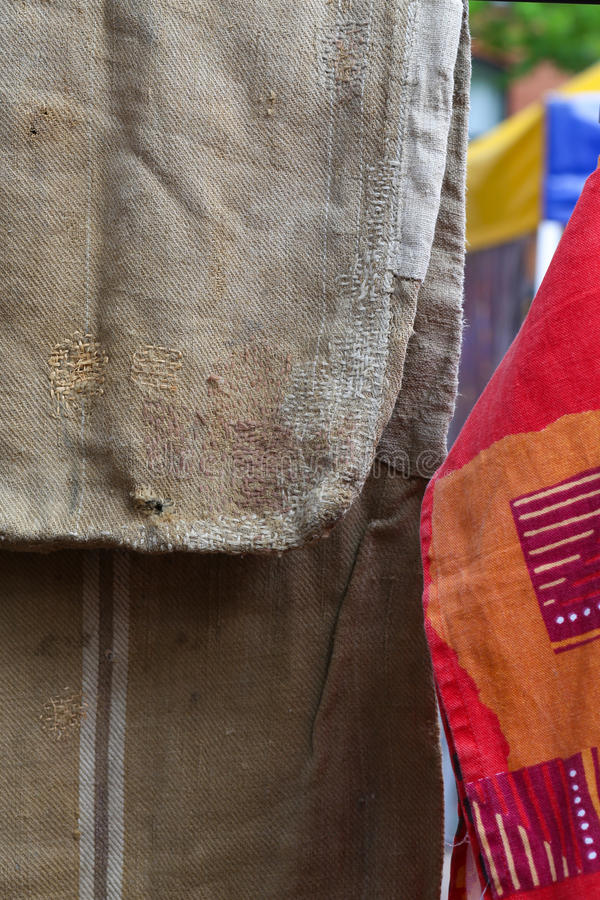 Patches on Old Rough Cloth Sack Brown Bag stock photos