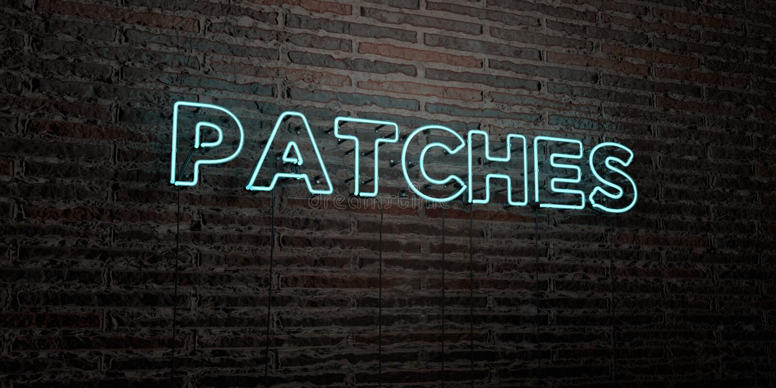 PATCHES -Realistic Neon Sign on Brick Wall background - 3D rendered royalty free stock image. Can be used for online banner ads and direct mailers royalty free illustration