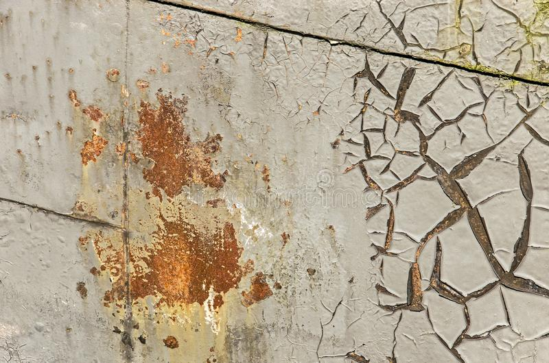 Rust and peeling paint on a ship hull royalty free stock photos