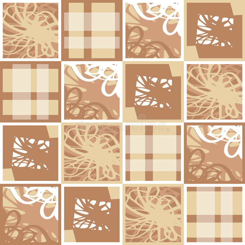 Patchwork. Abstract brown and white patchwork vector illustration