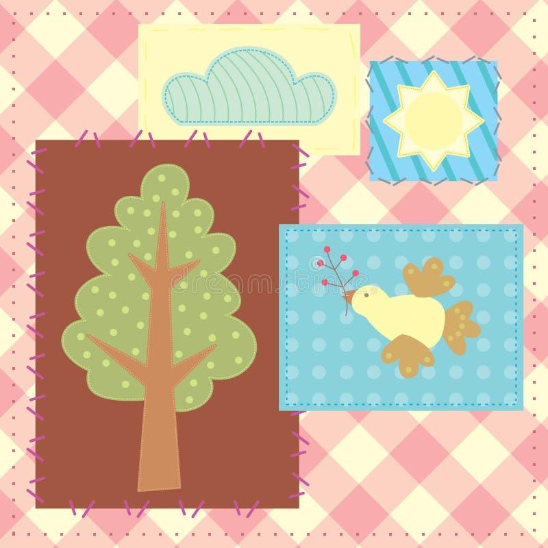 Patchwork avec l'arbre, l'oiseau, le nuage et le soleil illustration stock