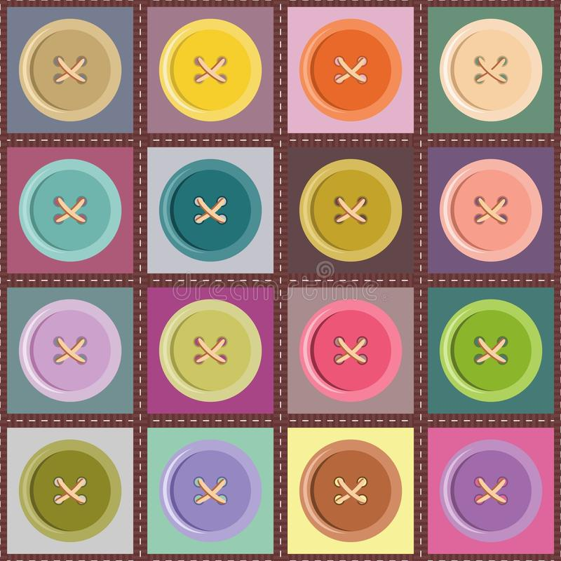 Download Patchwork Background With Buttons Stock Illustration - Image: 24457092