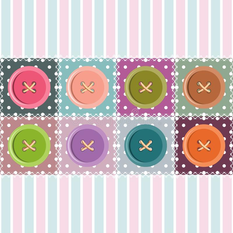 Patchwork Background With Buttons Stock Photo