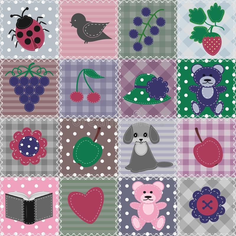 Download Patchwork Background With Different Patterns Stock Illustration - Image: 24369289