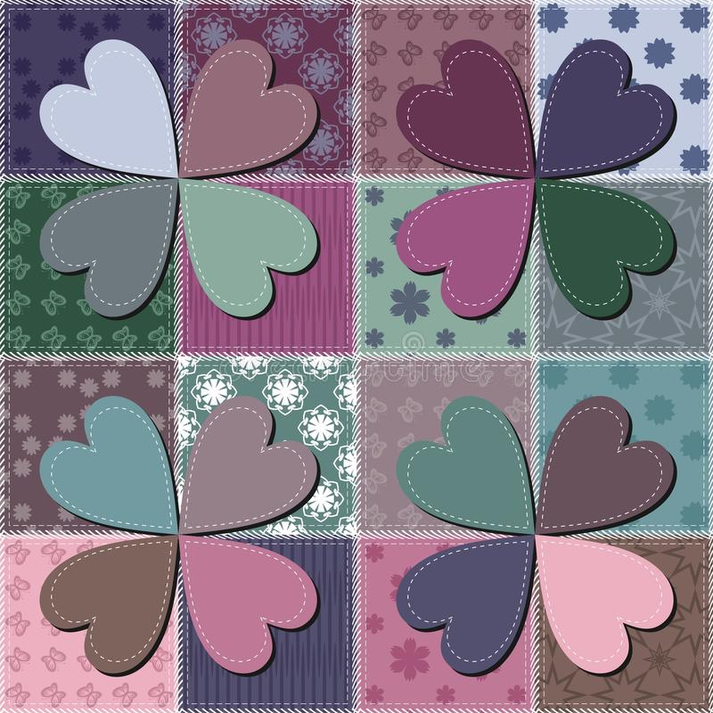Patchwork background with different patterns vector illustration
