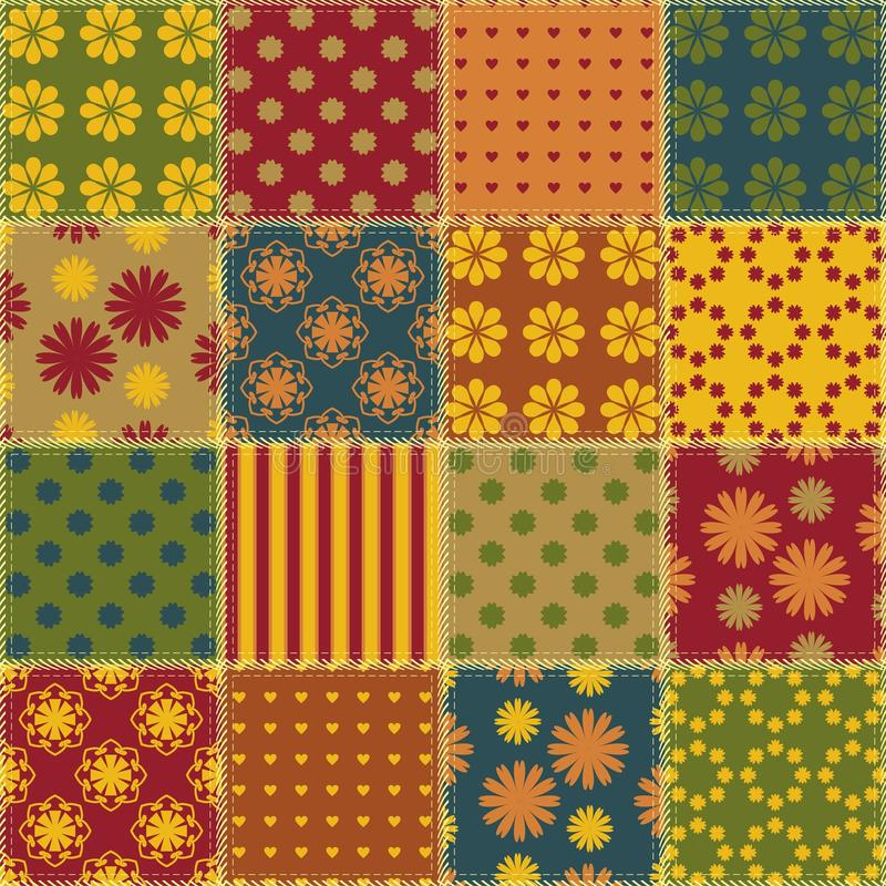 Patchwork background with different patterns. Patchwork background with different textile ornament patterns vector illustration