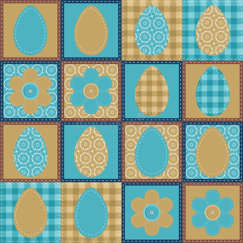 Download Patchwork Background With Eggs And Flowers Stock Illustration - Image: 24666356
