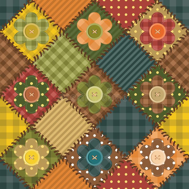 Download Patchwork Background With Flowers And Buttons Stock Illustration - Image: 25837867