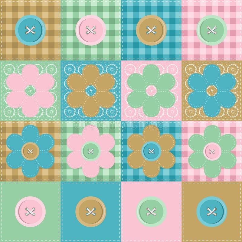 Download Patchwork Background With Flowers And Buttons Stock Illustration - Illustration of background, linen: 25837954