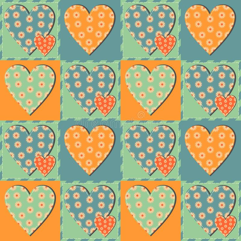 Patchwork background with hearts and patterns vector illustration