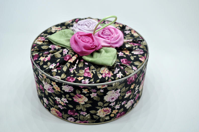 Patchwork box. Crafts homemade, flowers royalty free stock image