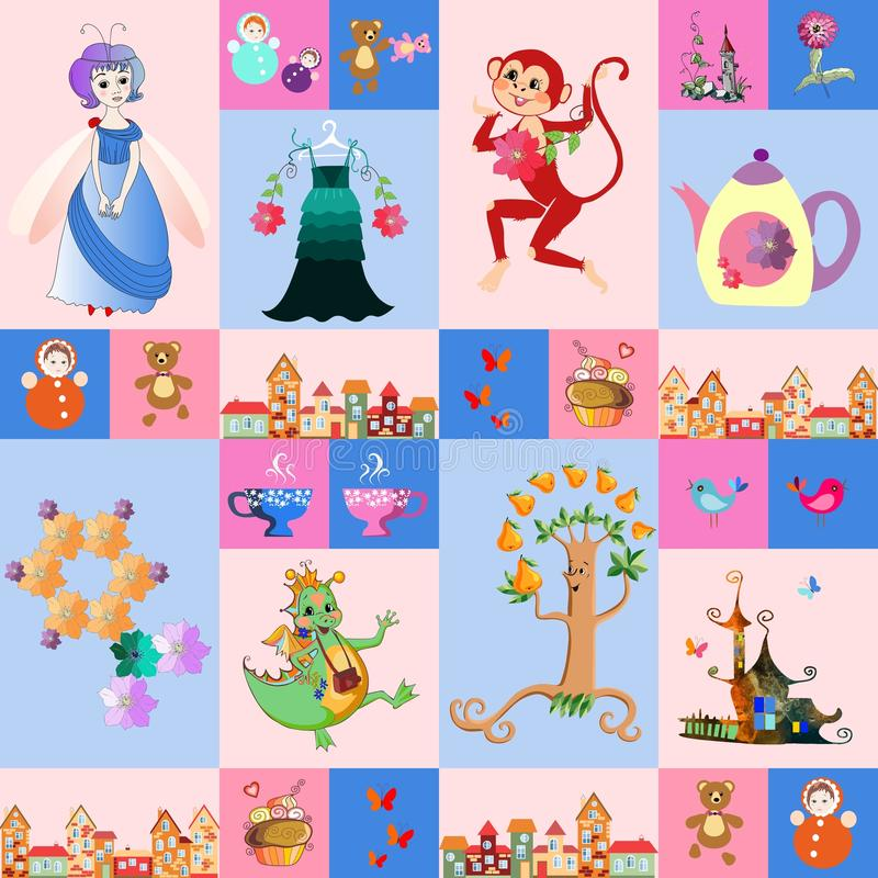 Patchwork for children. Vector fantasy background with a fairy, dragon, monkey, castle, teapot and cups, birds, butterflies, tree. Town, toys, cake, dress and royalty free illustration