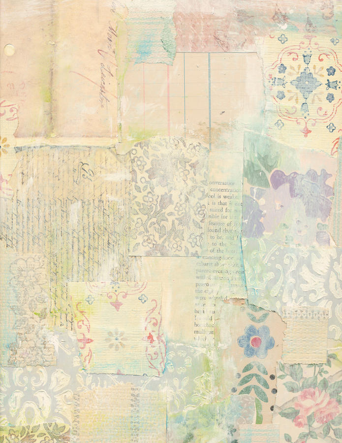 Patchwork collage of vintage papers