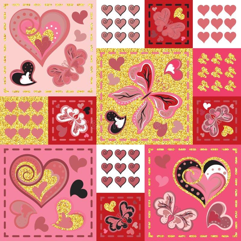 Patchwork coloré avec les coeurs et le papillon Configuration sans joint Éléments éclatants d'or Série de Scrapbooking illustration libre de droits