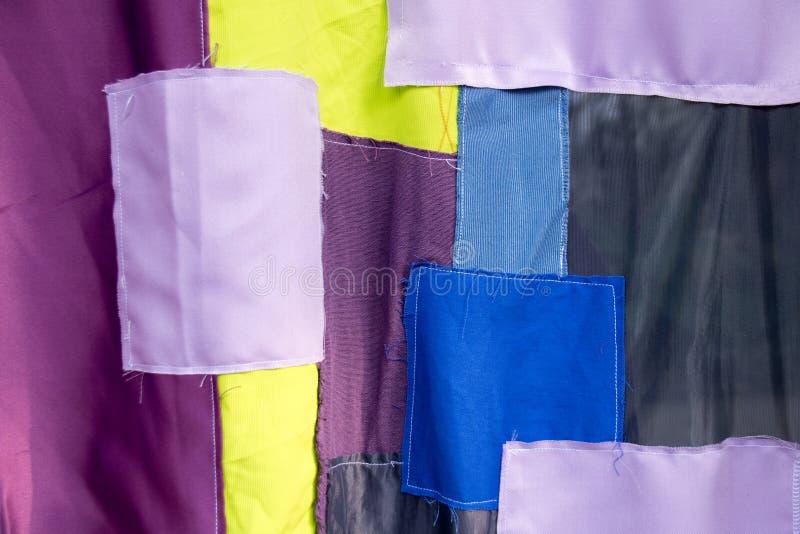 Patchwork coloré de collage de tissu pour la texture et le fond images stock