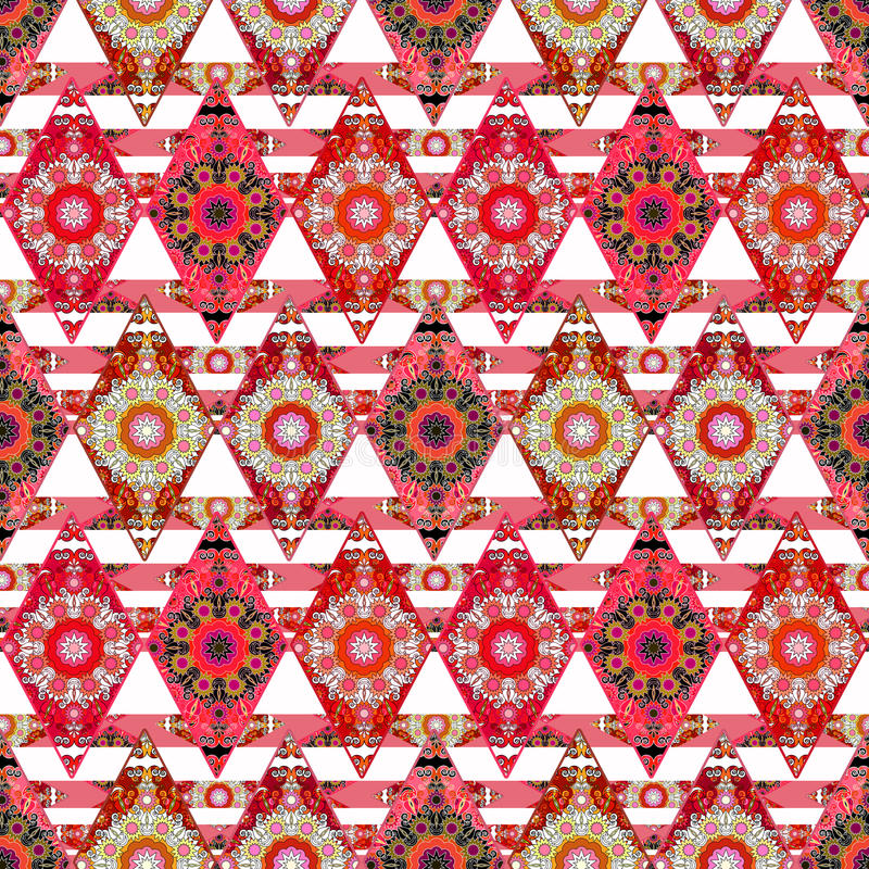 Patchwork. Colorful ethnic pattern with decorative stripes.white background. vector illustration