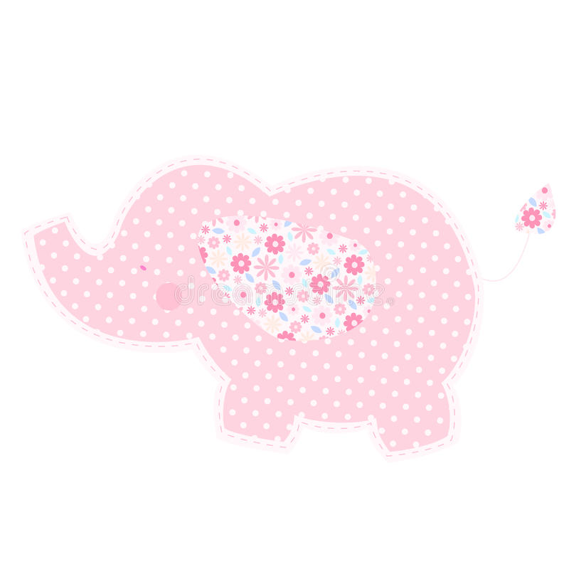 Patchwork cute elephant isolated vector illustration. stock illustration
