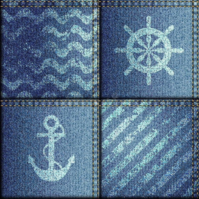 patchwork de tissu de denim dans le style marin illustration de vecteur illustration du. Black Bedroom Furniture Sets. Home Design Ideas