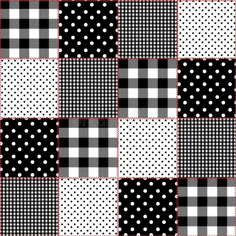 Patchwork des points de polka de diagramme différentiel, contrôle de guingan, contrôle de fenêtre, avec le modèle sans couture de illustration stock
