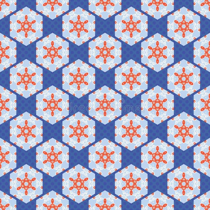 patchwork Dot Seamless Vector Pattern för 50-talstilsexhörning Folk Art Quilt stock illustrationer