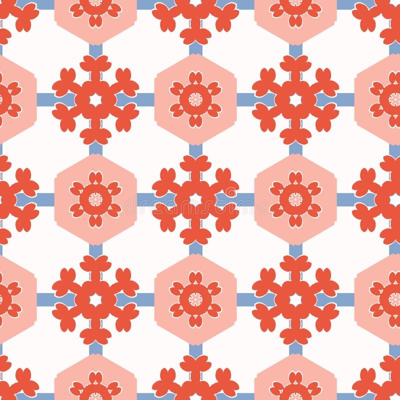 patchwork Dot Seamless Vector Pattern för 50-talstilsexhörning Folk Art Quilt vektor illustrationer