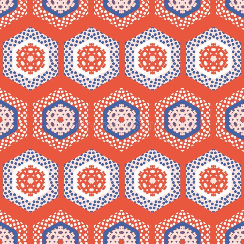 patchwork Dot Seamless Vector Pattern för 50-talstilsexhörning Folk Art Quilt Stripes vektor illustrationer