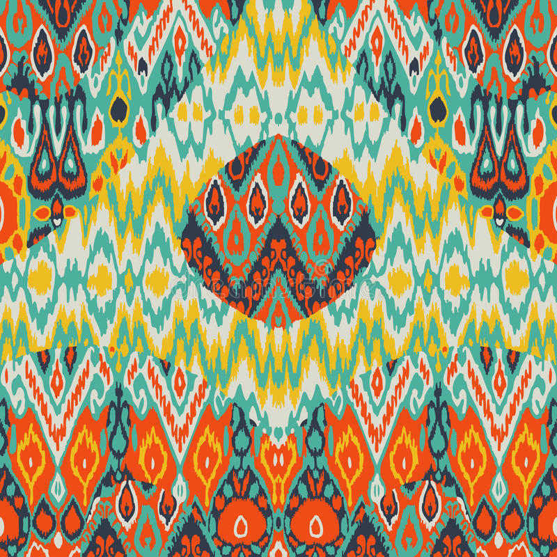 Patchwork ethnic bohemian arabesque pattern print. Seamless zigzag geometric ornament abstract background. Colorful tribal stock illustration