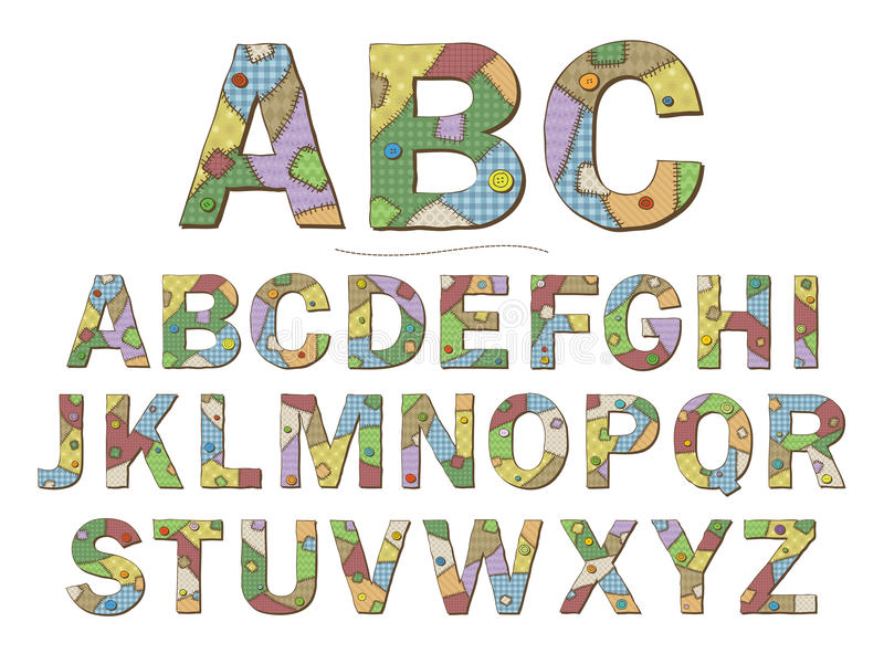 Download Patchwork Font stock vector. Image of like, icon, needlework - 30360983