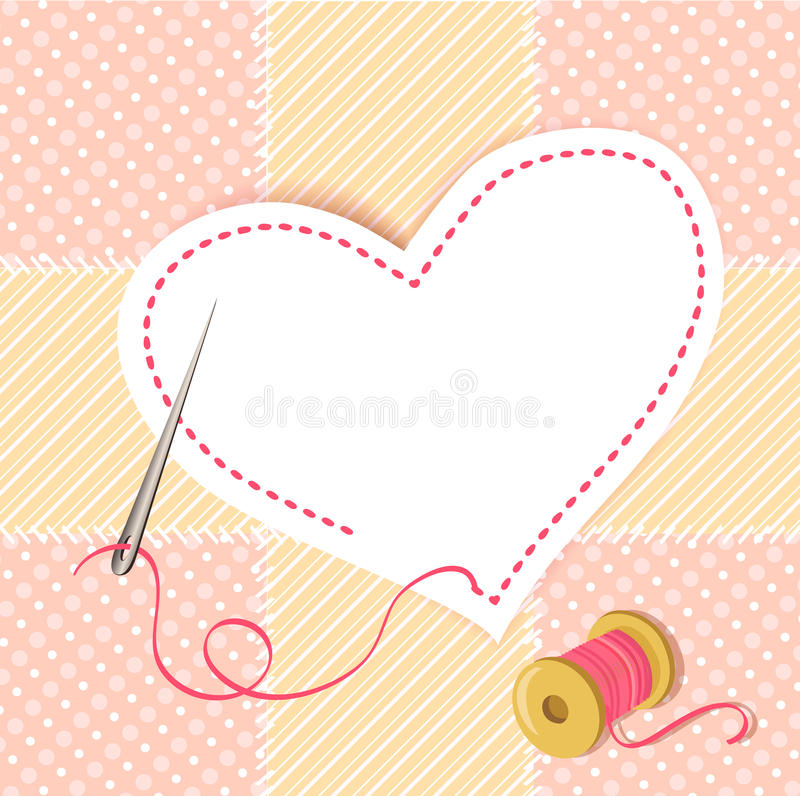 Patchwork heart with a needle thread stock illustration