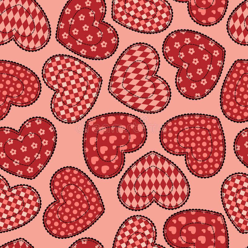 Download Patchwork Hearts Seamless Pattern. Stock Vector - Image: 28545271