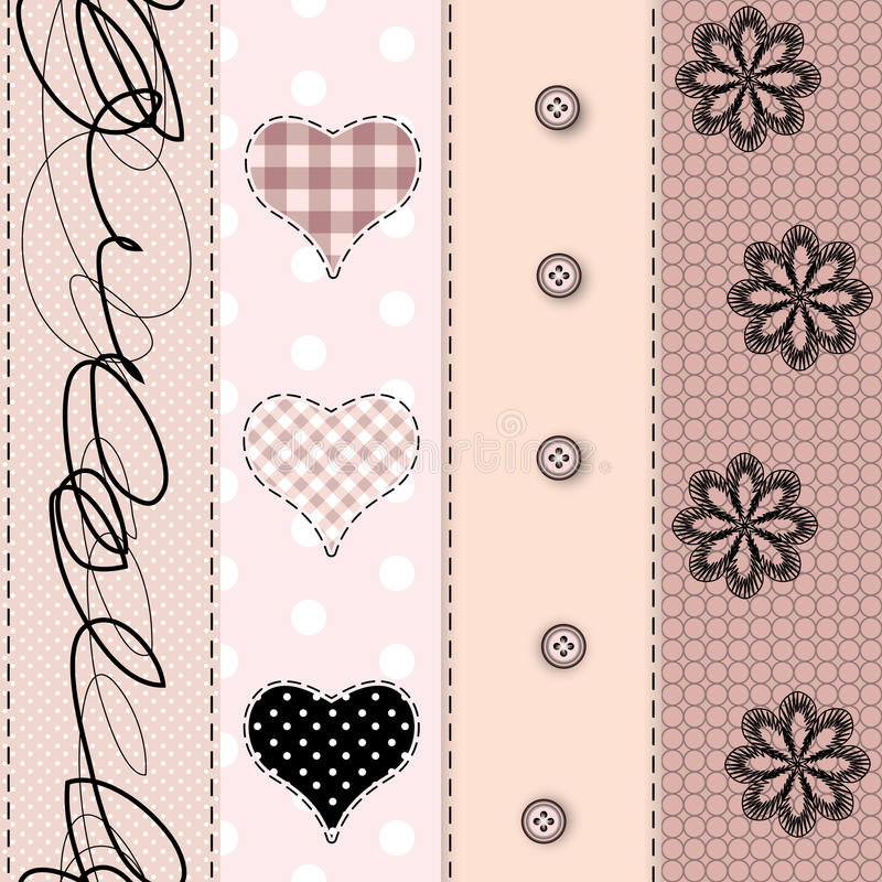 Patchwork with lace. Seamless background pattern. Will tile endlessly stock illustration