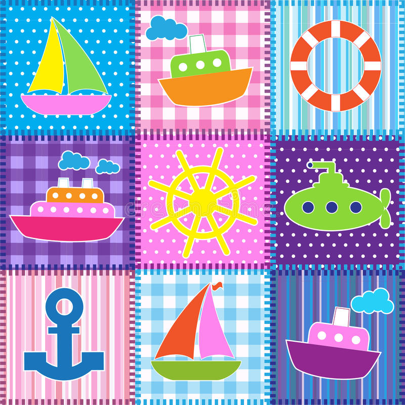Patchwork in marine style vector illustration