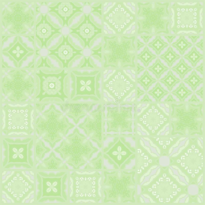 Patchwork in green, abstract floral geometric pattern, background, vector seamless vector illustration