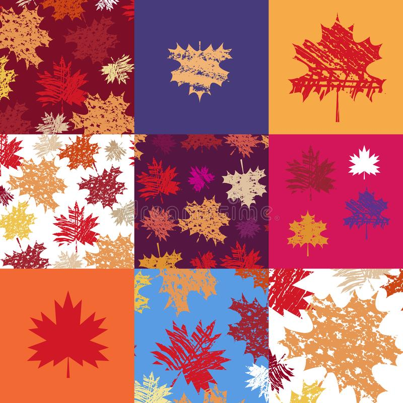 Patchwork pattern. Autumn seamless patchwork pattern with maple leafves. Vector illustration royalty free illustration