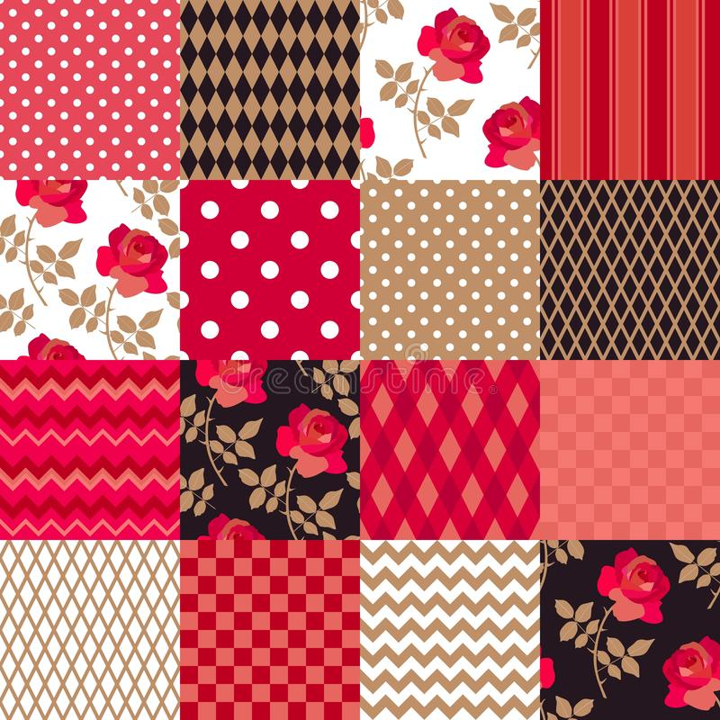 Patchwork pattern from floral, zigzag, striped, polka dot, checkered patches in red, gold, black and white colors in vector. Print for fabric, quilt, paper royalty free illustration