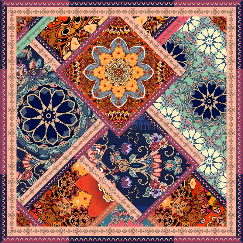 Patchwork pattern with flowers, mandalas and ornamental frame. stock illustration