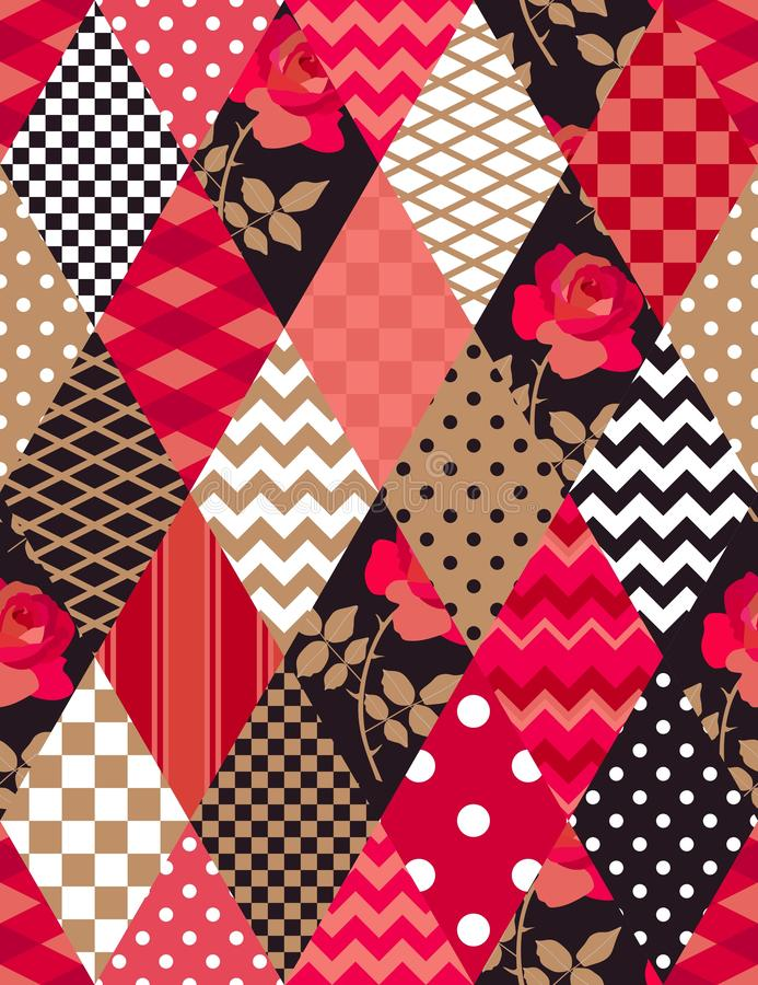 Patchwork pattern in red, gold, black and white colors. Polka dot, checkered, zigzag, floral patches in shape of rhombus. Seamless print in country style for stock illustration