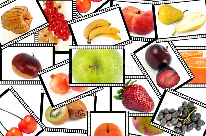 Patchwork with pictures of various fruits royalty free illustration