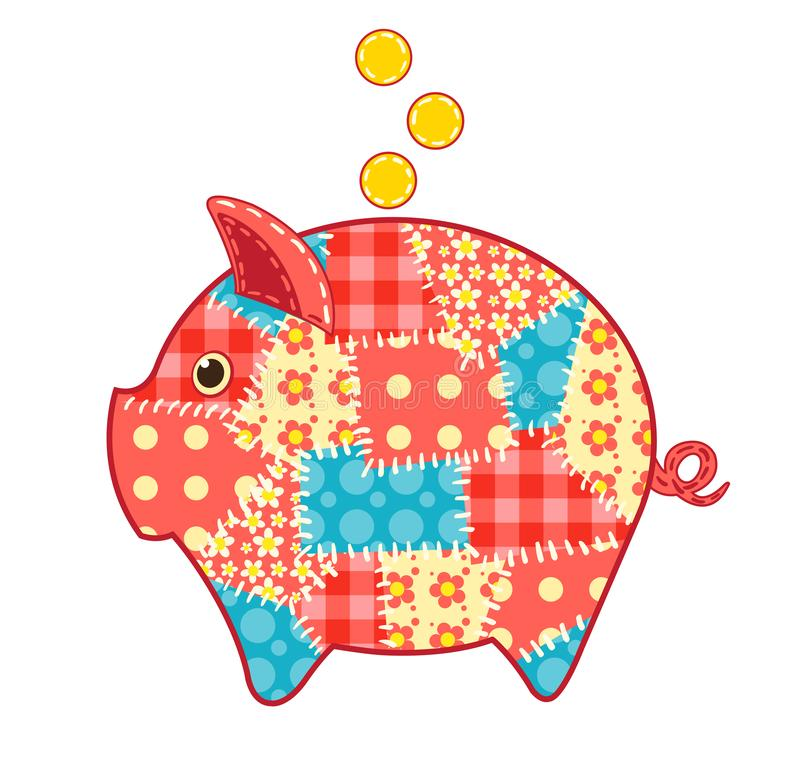 Patchwork pig moneybox stock photography