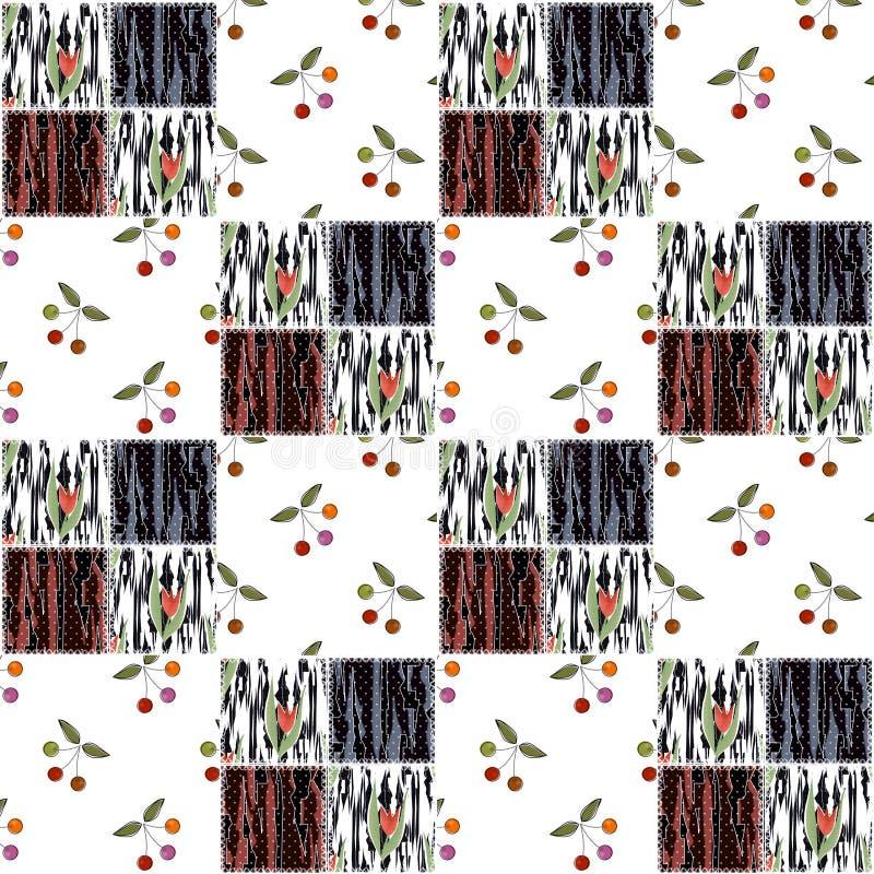 Patchwork quadriert nahtlosen Musterkirschbeschaffenheitshintergrund lizenzfreie abbildung
