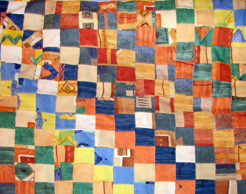 Patchwork quilt. Coverlet of manual work made of different rags stock photography