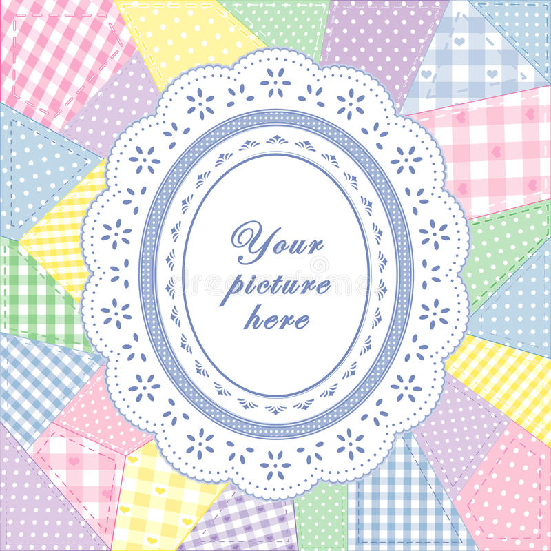 Download Patchwork Quilt, Oval Eyelet Lace Doily Frame Stock Vector - Image: 19853309