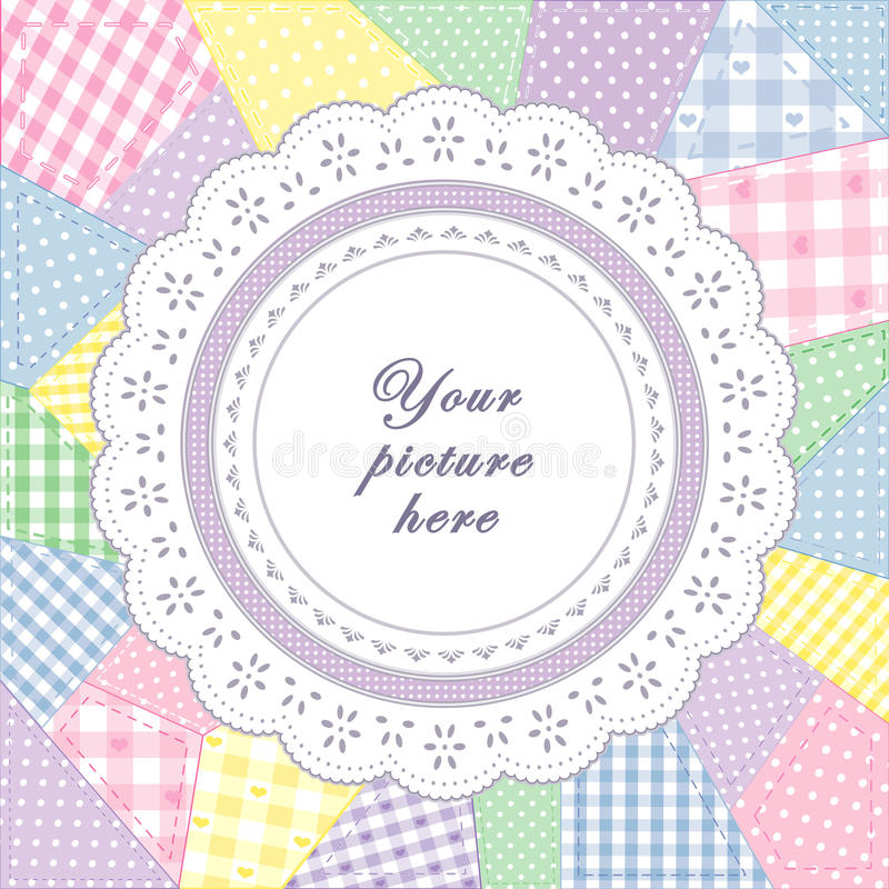 Patchwork Quilt, Round Eyelet Lace Doily Frame. Pastel gingham & polka dot patchwork quilt with round eyelet lace doily frame. Copy space for your favorite royalty free illustration