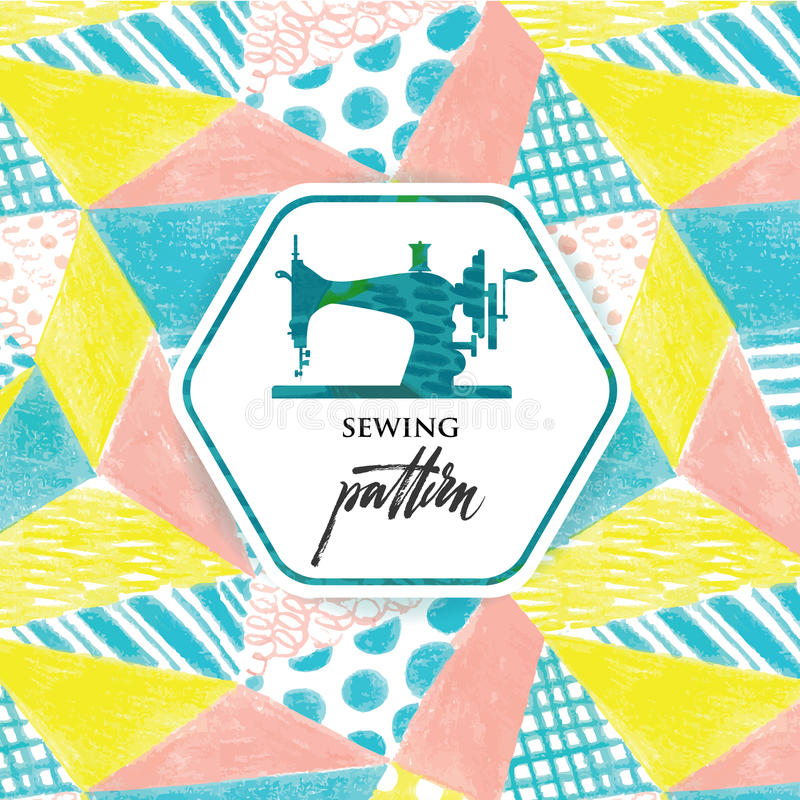 Patchwork quilt. Seamless pattern drawn with color pencils. vector illustration