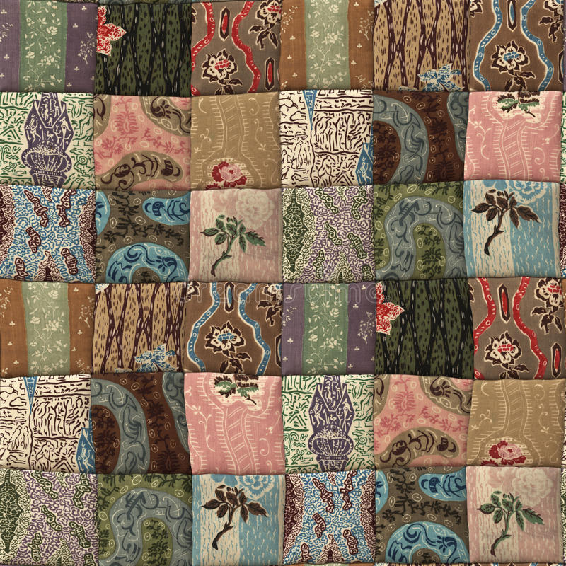 Patchwork quilt seamless texture. 3D country patchwork quilt seamless texture royalty free illustration